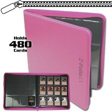 BCW Pink Zipper Z-Folio LX Binder Album with 12 Pocket Pages holds 480 Cards