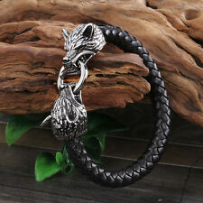 For Men New Genuine leather bracelet Stainless Steel Biker Wolf Charms Bangle