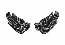 Black Tattoo Sparrow Swallow Embroidered Patch Iron On Applique Gothic Punk Bird