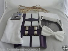 "White 1.4""=35mm BRACES + Bow tie + White&Black Hankies + Mens Socks + Shoe Laces"