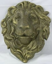 Iron Gold Lion Head Hanging Plaque Lawn & Garden Decor Lions Face Wall Decor