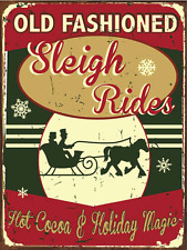 Old Fashioned Sleigh Rides Metal Sign, Hot Cocoa, Holiday Décor, Christmas Décor