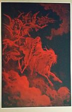"""Gustave Dore Poster Print 36"""" x 24"""" Death on a Pale Horse Dante's Inferno Red"""