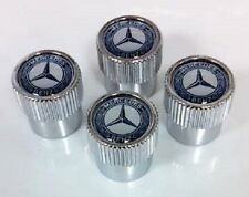 Genuine Mercedes-Benz Valve Stem Caps Blue Laurel Logo New Set of 4