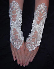 1g White Luxurious Bridal Satin Elbow Length Fingerless Wedding Prom Gloves