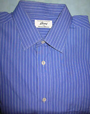 Brioni blue w/ blue striped  FC dress shirt 16 x 35-36  made in Italy  (S12)