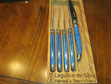 Jean Dubost Laguiole 5 Piece Steak Knives in box ~TURQUOISE  ~ MADE IN FRANCE