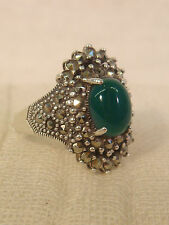 STERLING MARCASITE GREEN STONE RING ORNATE SIZE 5 1/4 SILVER