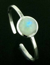Rainbow Moonstone and Sterling Silver Bangle