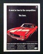 1969 Chevrolet Camaro SS 350 original General Motors  ad print Gift 1968 1970