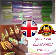 5pc SET! BROKEN GLASS EFFECT NAILS 5cmx15cm FOIL SHELL NAILS ART Efekt Szkła UK