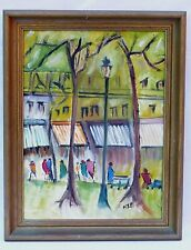 VINTAGE MID CENTURY FAUVISM ABSTRACT CITISCAPE CITY PEOPLE FIGURES SIGNED NEP