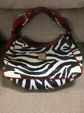 Dooney & Bourke Zebra Red Stitch W/ Black/Cream M/L Handbag T-10
