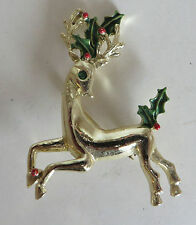 Vtg Signed GEDDYS Christmas Reindeer Pin Brooch Broach Enamel Costume Jewelry