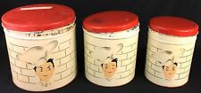Vintage Parmeco Parker Metal Kitchen Canister Set Winking French Chef Red White
