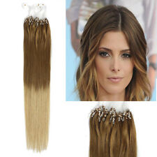 "18""50g Micro Ring Beads Human Hair Extensions Dip Dye Ombre Hair Brown Blonde"