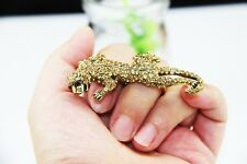 New Fashion Punk Rock Style Alloy Bronze Leopard Rhinestone 2 fingers Ring Style