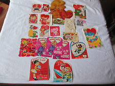 Lot of Vintage Valentine's Cards, Box Candy Labels etc.  Good/Used Condition