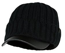 Men's Winter Visor Beanie Knitted Hat With Faux Leather Brim Black One Size