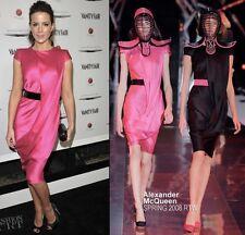 Alexander McQueen Pink Silk Satin Cap Sleeve Drape Dress Sz 38