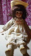 17 inch - Musical - Porcelain - Cloth - Girl Doll - Country Dress & matching hat