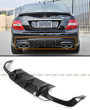 FOR 12-14 BENZ W204 C63 C250 C300 AMG BUMPER CARBON FIBER REAR DIFFUSER QUAD TIP