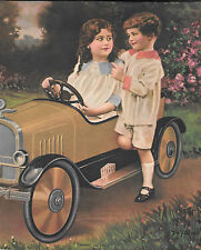 De Forest, R. Atkinson Fox, Kids Pedal Car Salesman Sample Calendar Print Vintag