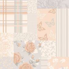 Vintage ShabbyChic Patchwork Butterfly Wallpaper Rose Gold M1111 Crown