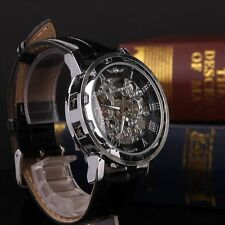 Classic Transparent Steampunk Skeleton Mechanical Stainless Steel Watch Black