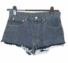 LEVI 501 Shorts Denim Size 12 Blue Hot Pants Cut Down W32in Cotton