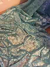 "1 MTR TURQUOISE SCALLOPED BRIDAL EMBROIDED LACE NET FABRIC...52"" WIDE"