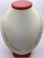"New Solid 14K Tri Color Gold 22"" Mariner Twisted Chain Necklace 3.2 grams 2.5 mm"