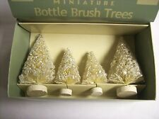 "Set of 4 ""Mini Ivory Bottle Brush Trees in Vintage Style Box"" by Bethany Lowe"