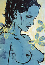"""New DAVID BROMLEY Boutique Edition Screenprint """"Romy with Flowers"""""""