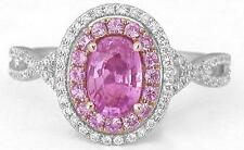 1.48 ctw Oval Pink Sapphire and Diamond Halo Ring in 14k White and Rose Gold