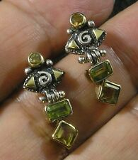 Citrine Peridot Round Rectangle .925 Sterling Silver 22K Gold Post Earrings