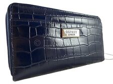 OSPREY LONDON New Large Deep Blue Zipped Leather Wallet Genuine Purse bag Croc