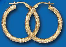 Oro Amarillo De 25 Mm Con Textura Twist pendientes de aro