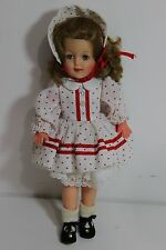 Vintage Ideal Doll 12 tall Shirley Temple very nice White Red Pocodot dress