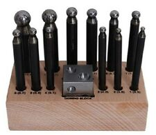 "Jewelers 14pc Dapping Punch Set with Wooden Stand 1"" Square Doming Block"