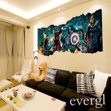 The Avengers Flag Heros Mural Vinyl Wall Decals Sticker Removable Room Decor