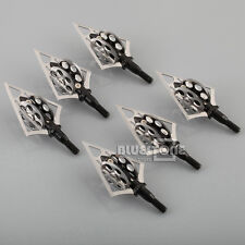 NEW 6Pcs Broadheads 100grain Wheel 4 Blade Steel Arrow Heads Hunting Points Tips
