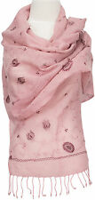 Schal, 100% Wolle wool scarf stole écharpe bestickt embroidered Rosa light pink