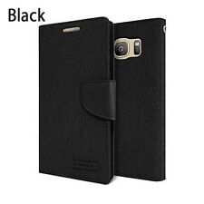 Canvas Flip Kickstand Slim leather wallet Case Cover for iPhone Galaxy LG