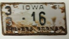 1961 IOWA Fayette County Non Residential Transit License Plate 33-16