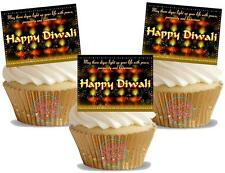 NOVELTY HAPPY DIWALI (FIREWORKS) 12 STAND UP Edible Image Cake Toppers