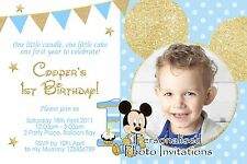 Personalised Baby Mickey Mouse Gold Birthday Invitations Photo 1st 2nd invites