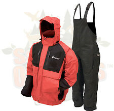 S SM Frogg Toggs Red/Black Firebelly Jacket & Black Toadskin Bibs Rain Suit Gear
