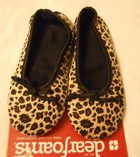 Dearfoams Women Slippers Sz Small (5-6) Leopard Animal Print