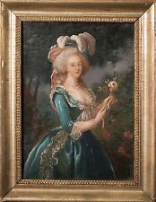 Marie-Antoinette with a Rose Original Antique Oil Painting aft. Louise Le-Brun